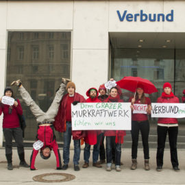Murkraftwerk: Protest gegen Verbund-Beteiligung