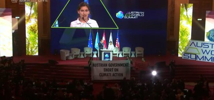 "Protest beim Austrian World Summit: ""Austrian Government: Short on Climate Action"""