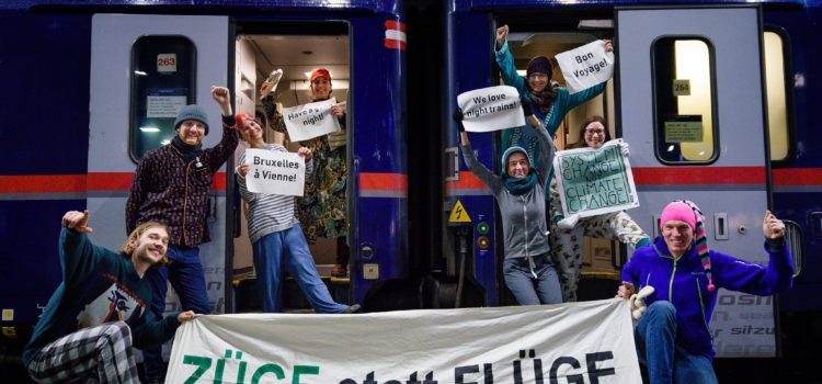 Presseaussendung: Nachtzug Wien Brüssel – Klimaaktivist*innen feiern neue Verbindung