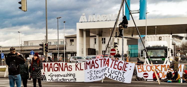 Presseaussendung: 150 Klimaaktivist*innen blockieren Magna und fordern umfassende Verkehrswende